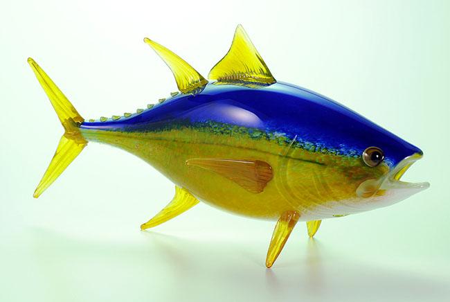 yellow fin tuna hopko art glass